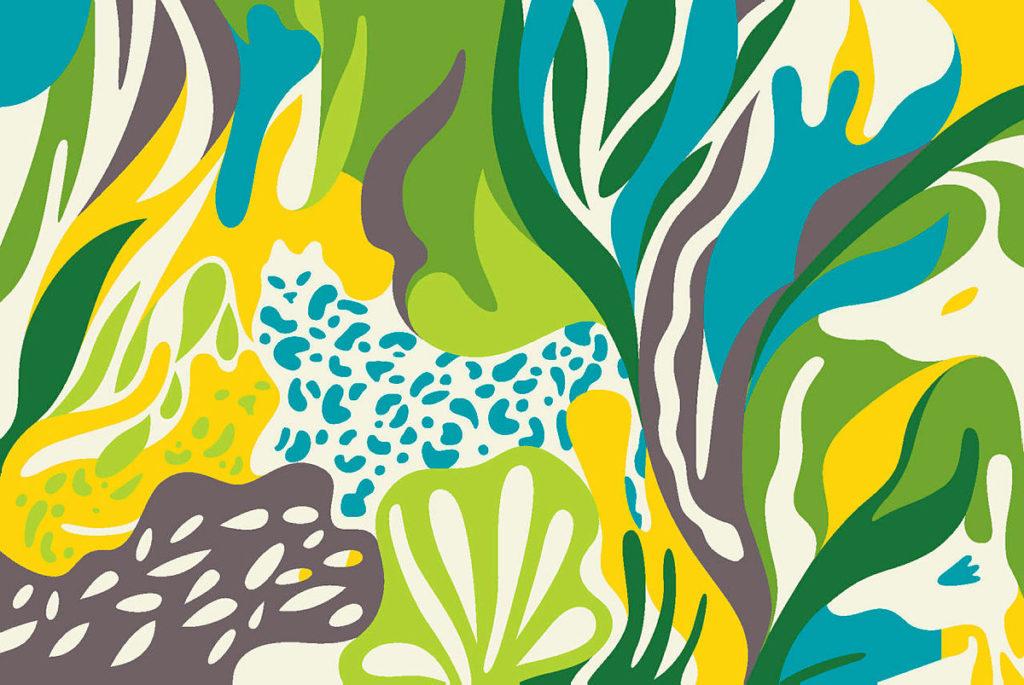 illustrason av fargerik natur