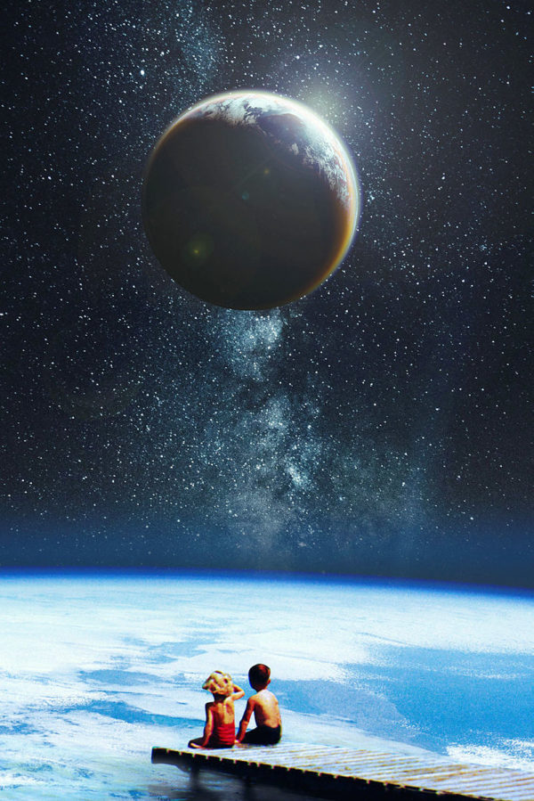 kids on a pier in space looking at a planet
